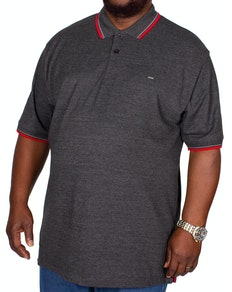 KAM Plain Tipped Polo Shirt Charcoal