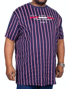 D555 Davis Stripe Printed T-Shirt Navy
