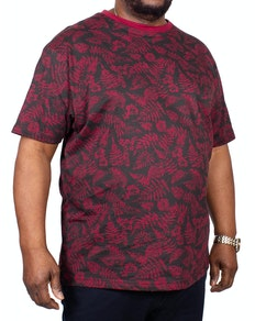 KAM Leaf Printed T-Shirt Burgundy
