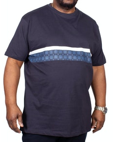 KAM Check Stripe Printed T-Shirt Navy