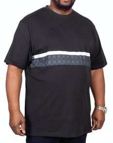 KAM Check Stripe Printed T-Shirt Black