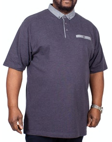 KAM Dobby Embossed Polo Shirt Charcoal