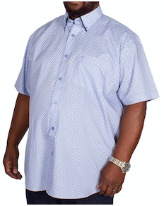 Cotton Valley Printed Tipped Short Sleeve Shirt Blue