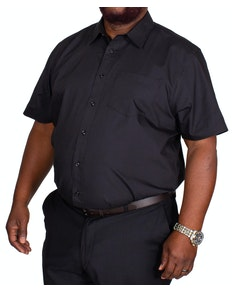 Bigdude Classic Short Sleeve Poplin Shirt Black Tall