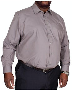 Bigdude Classic Long Sleeve Poplin Shirt Charcoal Tall