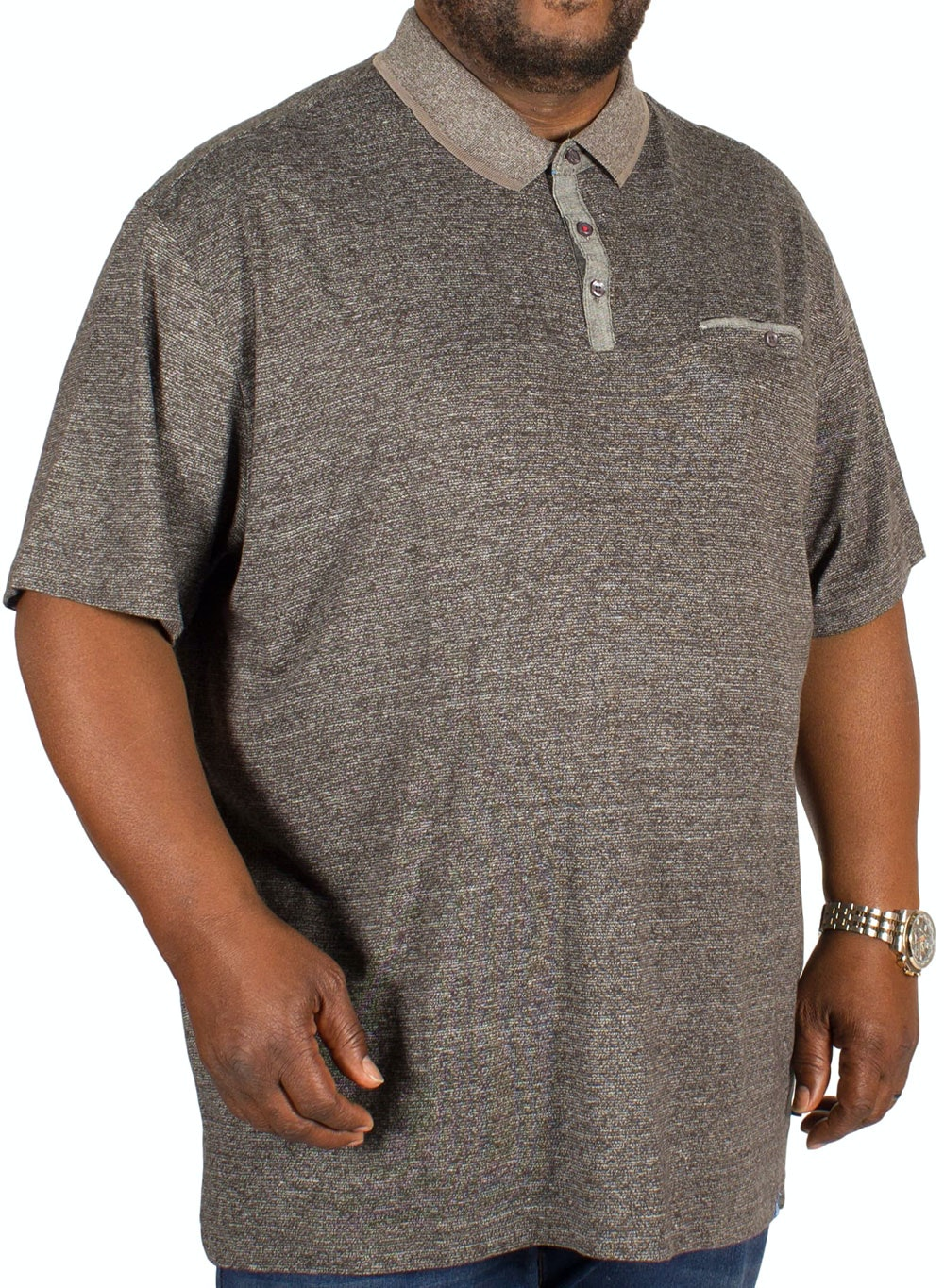 D555 Bradford Fine Stripe Polo Shirt Grey