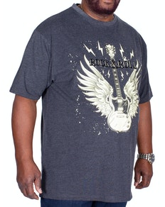KAM Rock N Roll Guitar Printed T-Shirt Charcoal