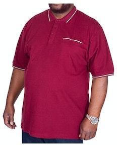 KAM Dobby Waffle Weave Polo Shirt Burgundy