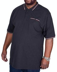 KAM Dobby Waffle Weave Polo Shirt Black