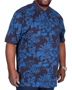 KAM Hawaiian Printed Polo Shirt Navy