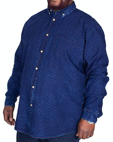 Replika Allover Printed Long Sleeve Shirt Blue