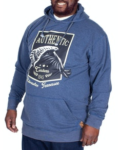 KAM Printed Washed Hoody Blue