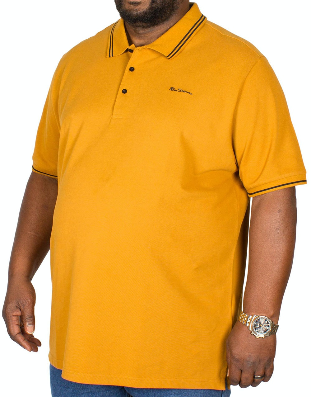 Ben Sherman Script Tipped Polo Shirt Gold