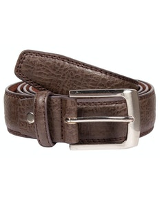 Peter Leather Stitch Detail Belt Brown