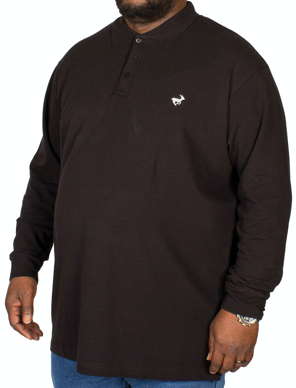 Bigdude Embroidered Long Sleeve Polo Shirt Black
