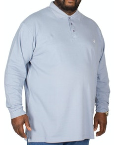 Bigdude Embroidered Long Sleeve Polo Shirt Denim