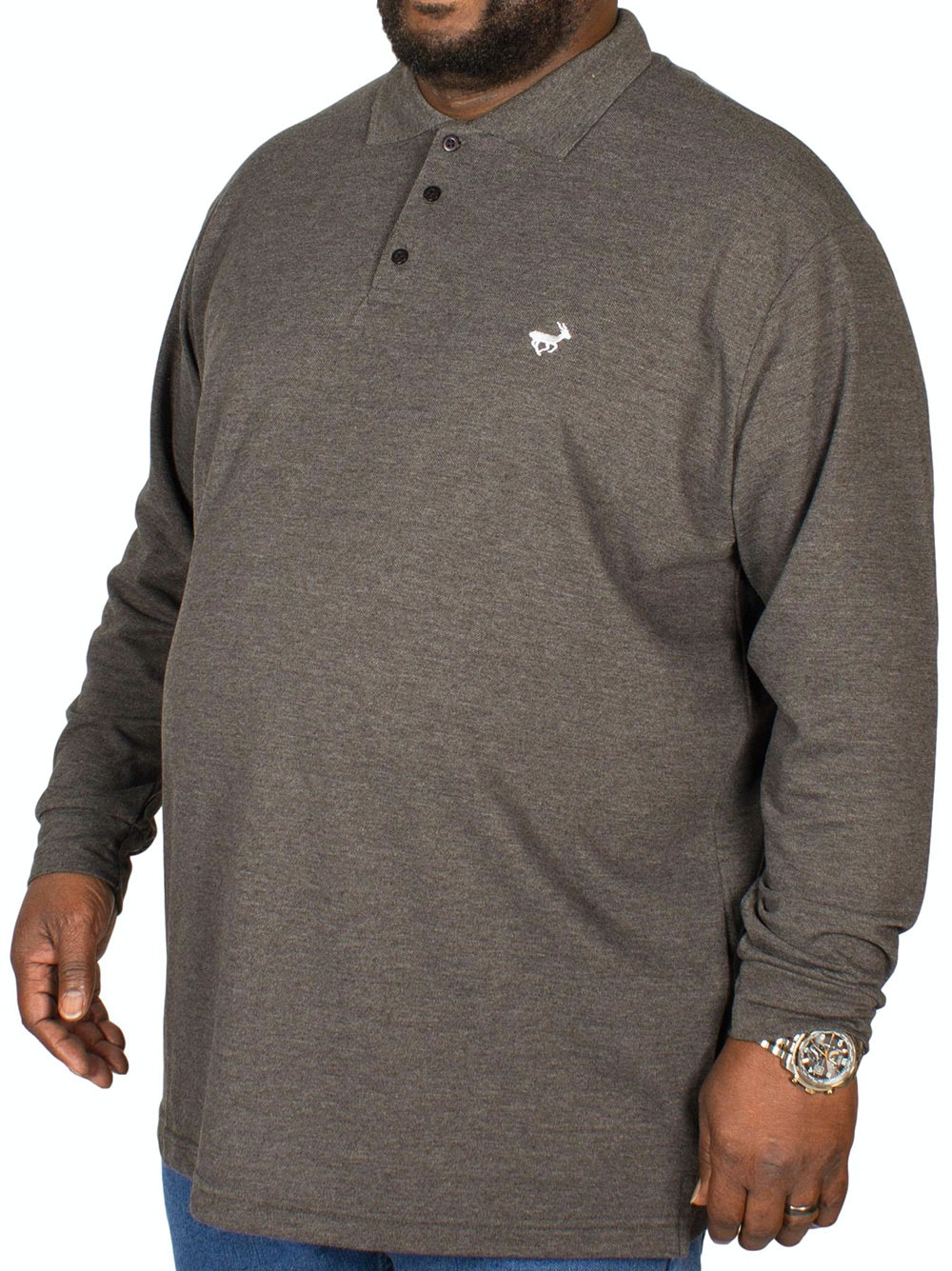 Bigdude Embroidered Long Sleeve Polo Shirt Charcoal