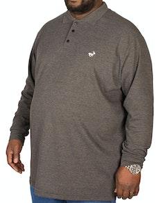 Bigdude Embroidered Long Sleeve Polo Shirt Charcoal