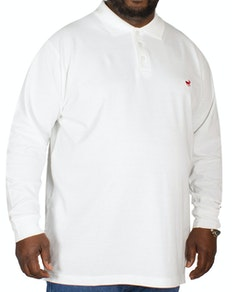 Bigdude Embroidered Long Sleeve Polo Shirt White