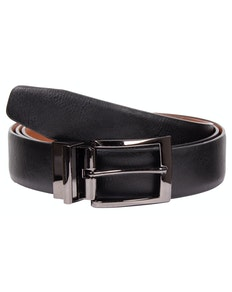 Harold Leather Reversible Belt Black/Tan
