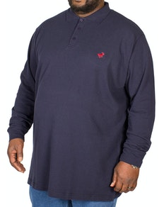 Bigdude Embroidered Long Sleeve Polo Shirt Navy