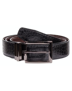 Albert Leather Snakeskin Reversible Belt Black/Brown