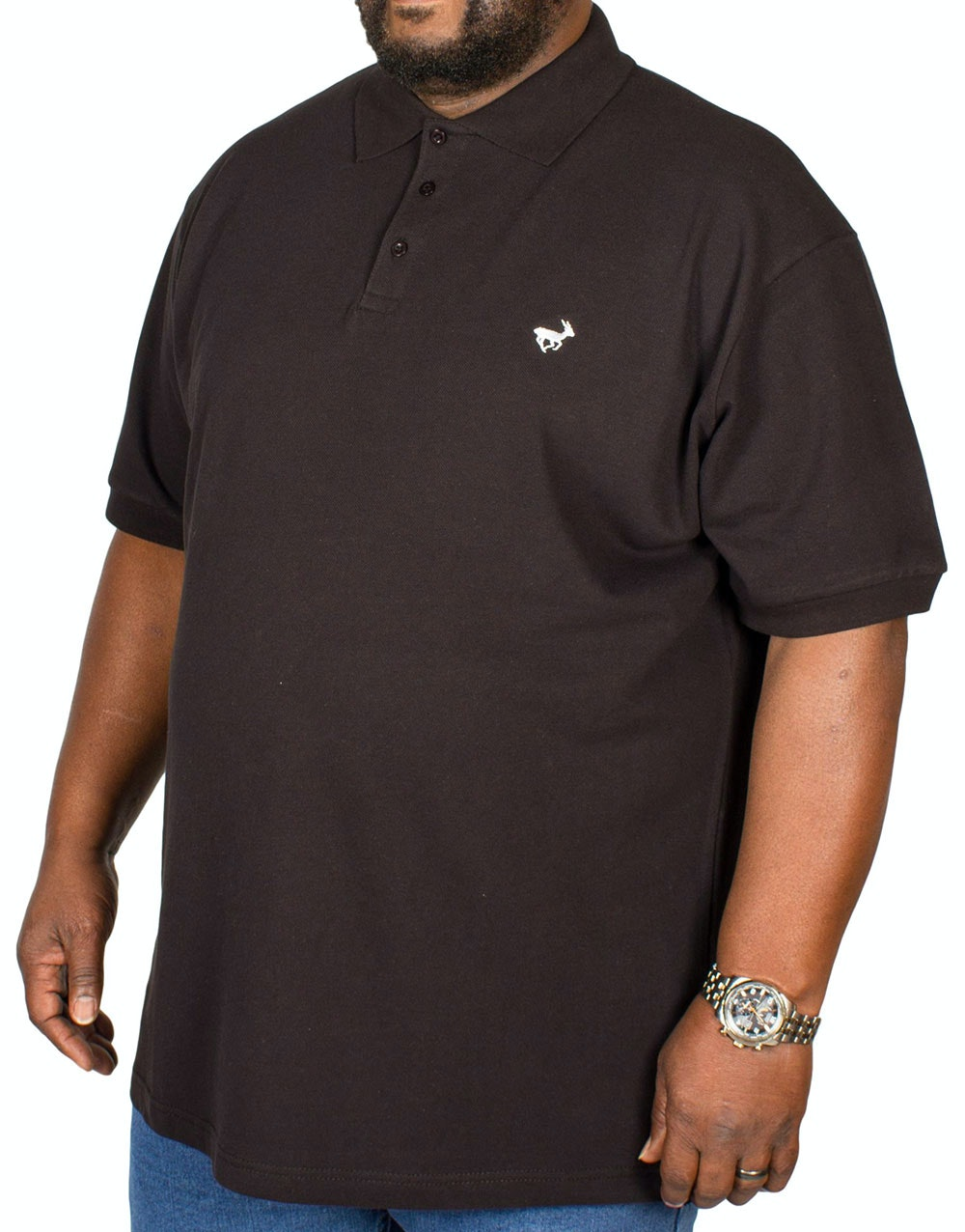 Bigdude Embroidered Polo Shirt Black