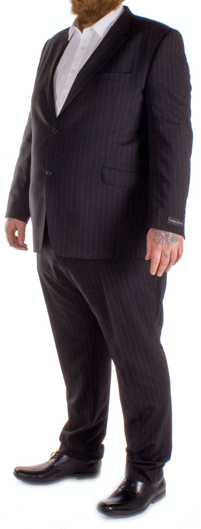 Hugo James Pin Stripe Suit Black