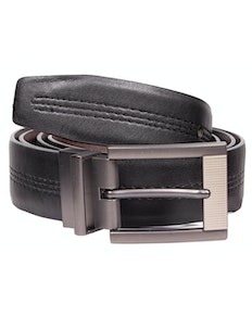 William Leather Stitch Detail Reversible Belt Black/Brown