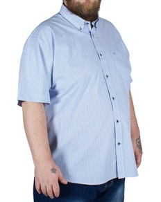 Cotton Valley Short Sleeve Dobbie Stripe Shirt Blue