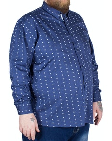 Cotton Valley Long Sleeve Square Print Shirt Navy