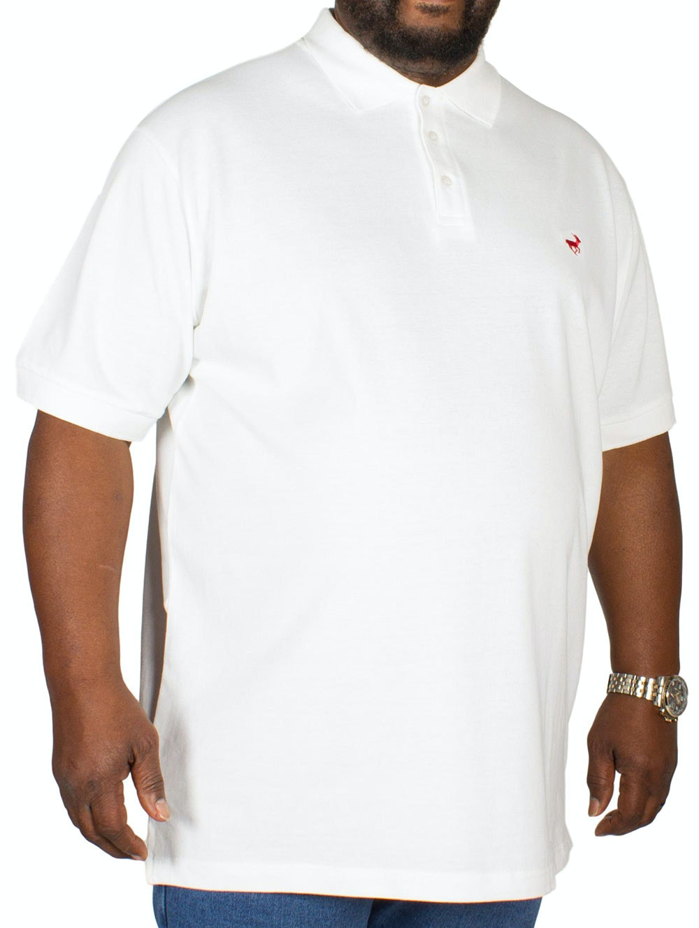 Bigdude Embroidered Polo Shirt White