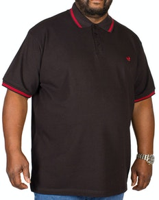 Bigdude Tipped Polo Shirt Black/Red Tall