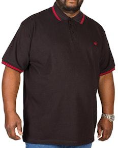 Bigdude Tipped Polo Shirt Black/Red Tall