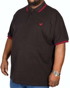 Bigdude Tipped Polo Shirt Black/Red