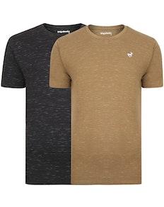 Bigdude Inkjet Marl T-Shirt Twin Pack Black/Khaki