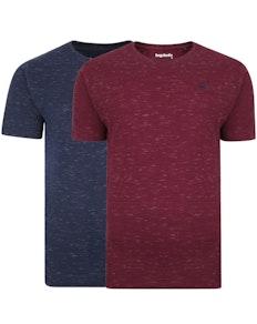 Bigdude Inkjet Marl T-Shirt Twin Pack Burgundy/Navy