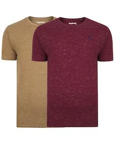 Bigdude Inkjet Marl T-Shirt Twin Pack Burgundy/Khaki