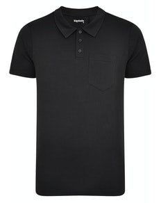 Bigdude Jersey Polo Shirt With Pocket Black Tall