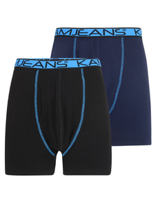 KAM Twin Pack Jersey Boxer Shorts Black/Navy