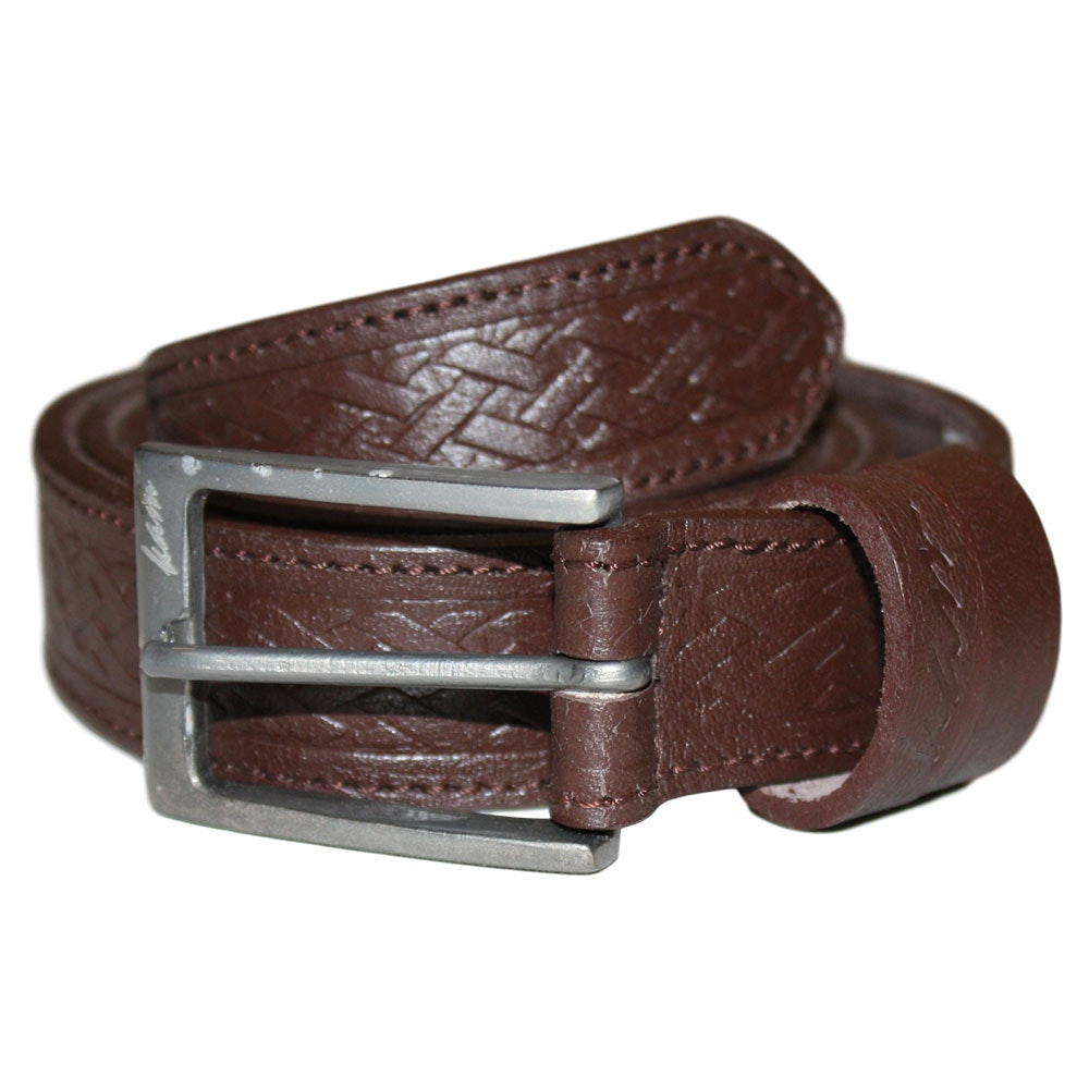 KAM Leather Basket Weave Pattern Belt Brown