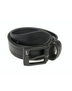 KAM Leather Stitch Pattern Belt Black