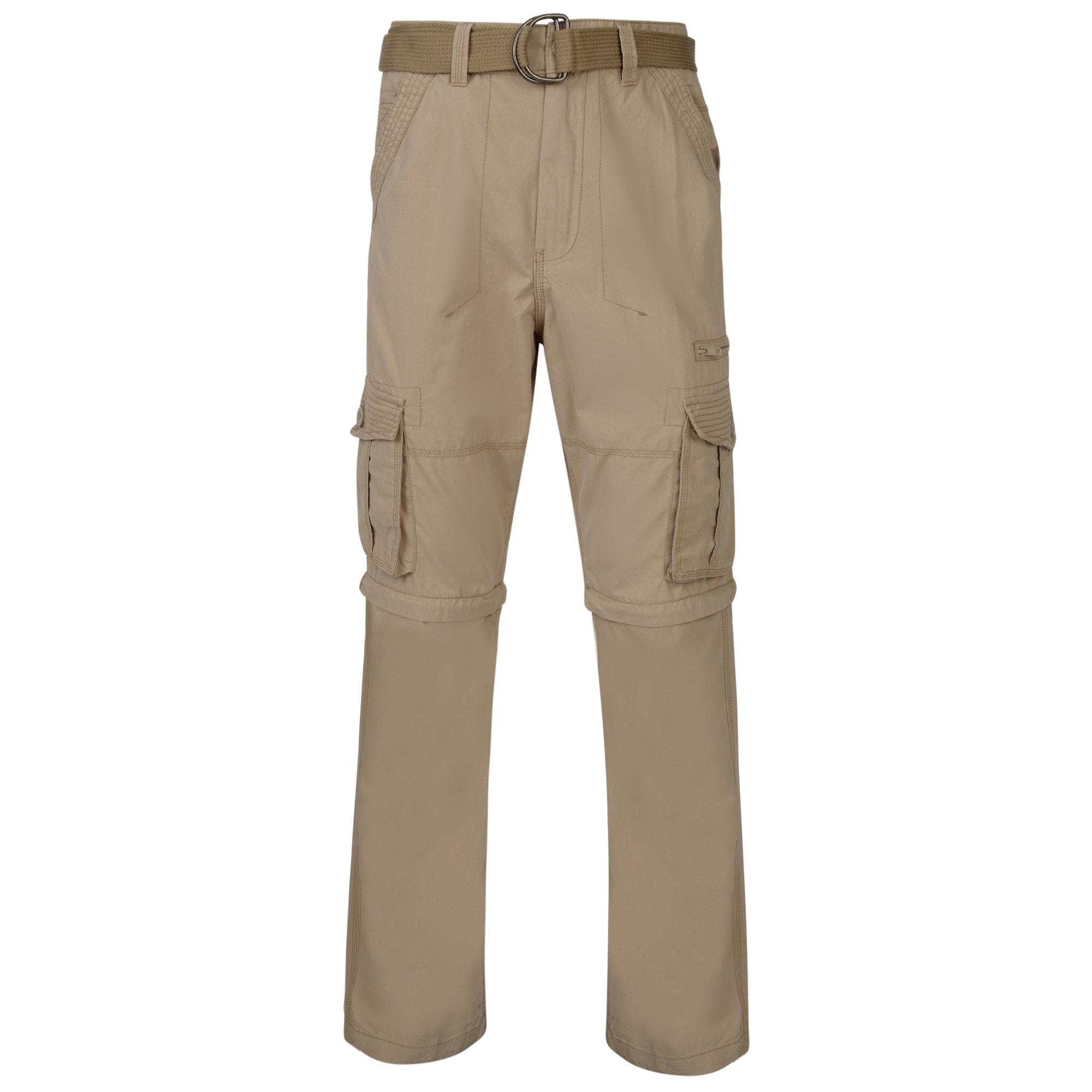 KAM Zip Off Cargo Trousers Stone