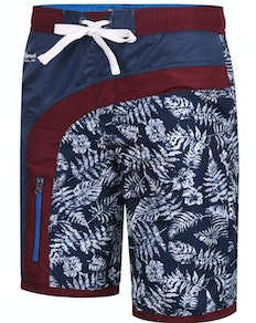 KAM Contrast Panel Leaf Print Swimmers Navy