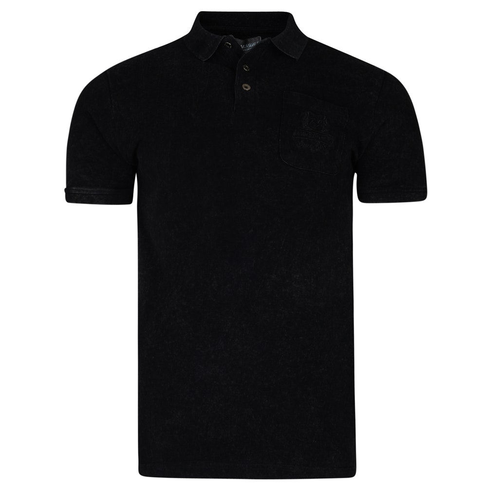 KAM Embroidered Pocket Polo Shirt Black