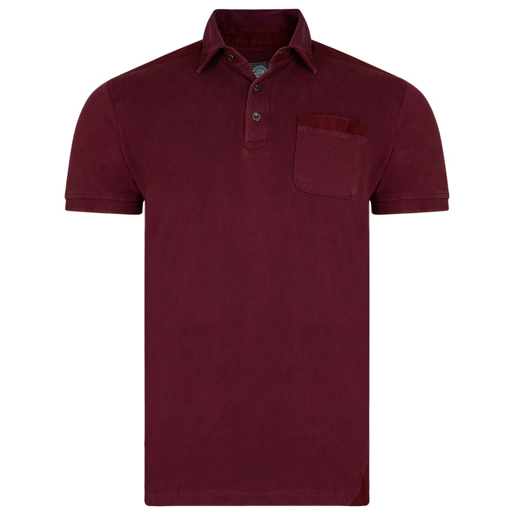 KAM Plain Polo Stripe Detail Burgundy