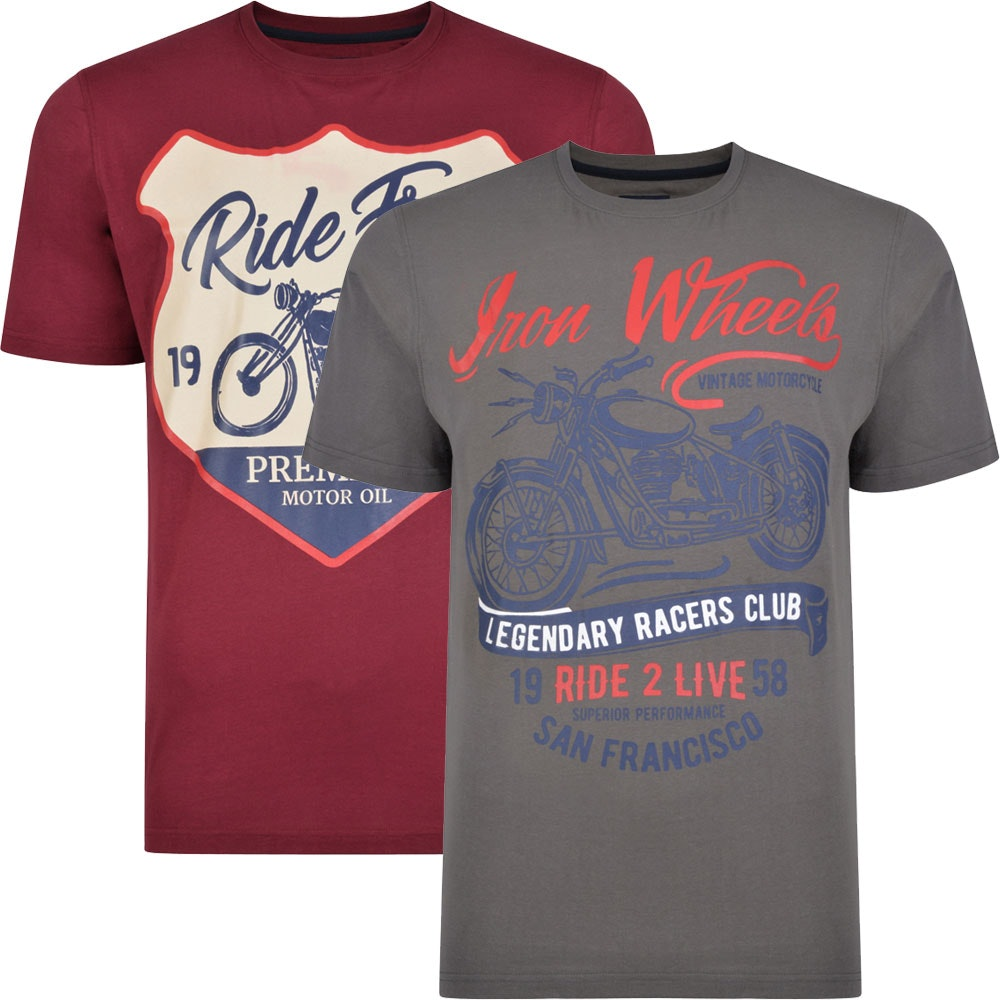 Kam Twin Pack Ride Free / Iron Wheels Print T-shirts