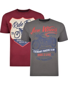 Kam Twin Pack Ride Free / Iron Wheels Print T-shirts
