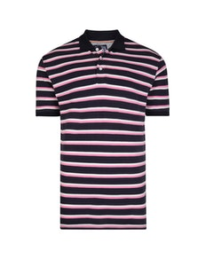 KAM Mini Stripe Polo Shirt Navy
