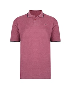 KAM Plain Tipped Polo Shirt Burgundy